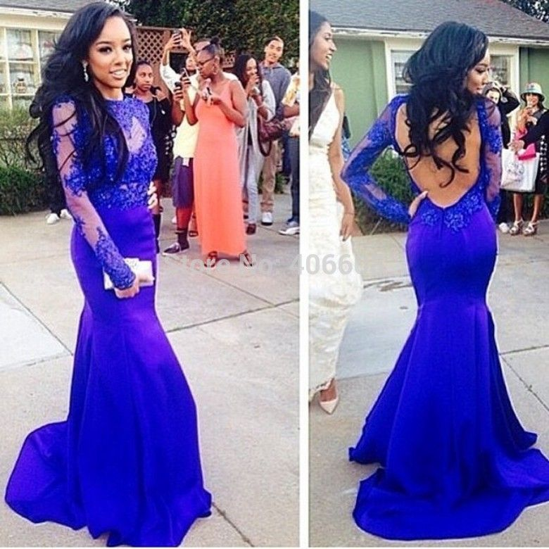 Find More Prom Dresses Information about Royal Blue High Neck Lace ...