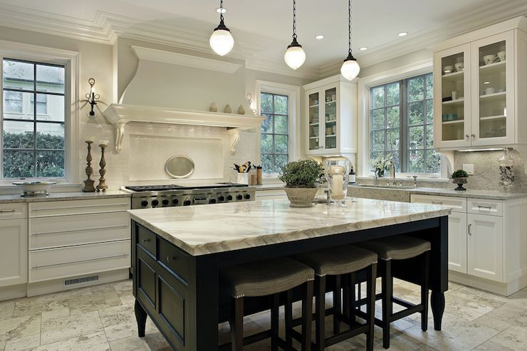 White And Black Traditional Kitchen two-tone black & white kitchen | gray quartz counters & marble