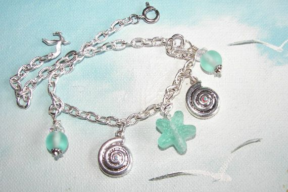 Anklet with Nautilus Shell Charms and Aqua by SeagullSmithJewelry, $15.00