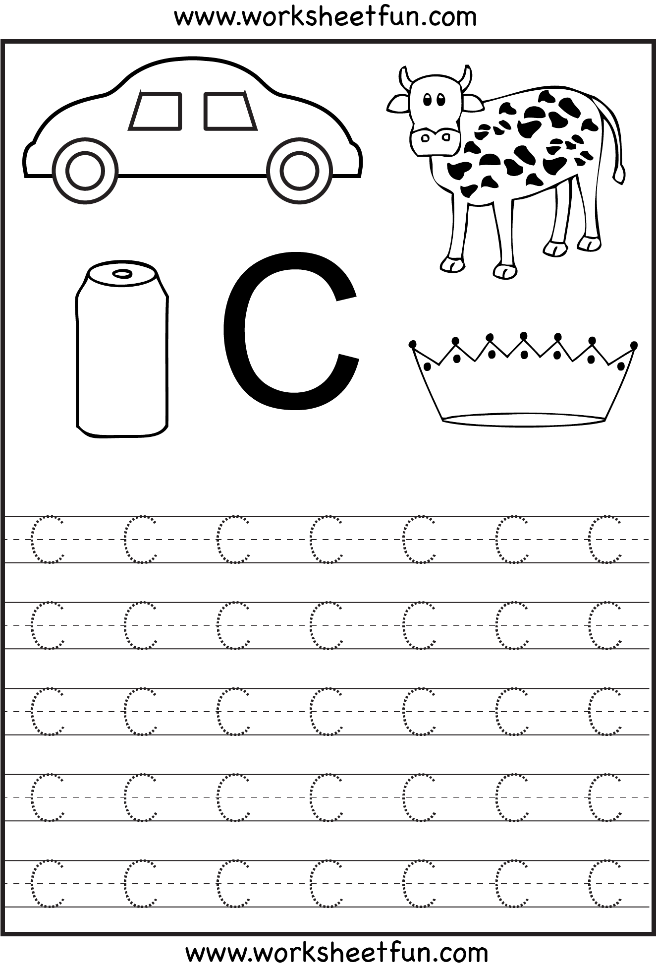 Worksheet Tracing The Letter C worksheetfun free printable worksheets kid activities letter tracing for kindergarten capital letters alphabet 26 printable