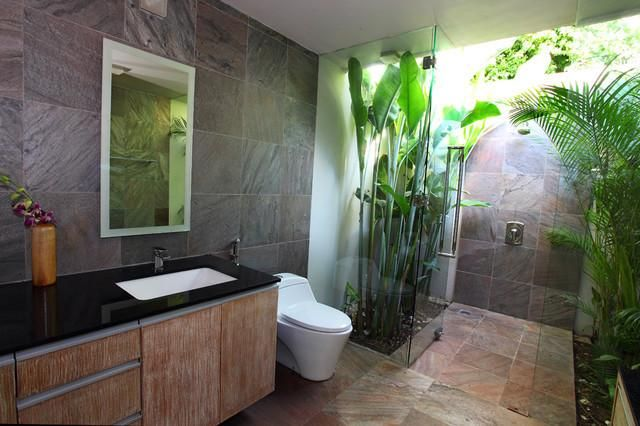 Copper slate gauged slate tile en 2019 douche l 39 italienne salle de bain tropicale salle - Salle de bain tropicale ...