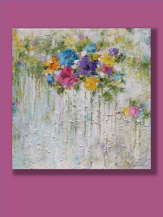 Large Abstract Painting Original Contemporary Colorful Flowers Palette Knife Living Room Art By Mirjana