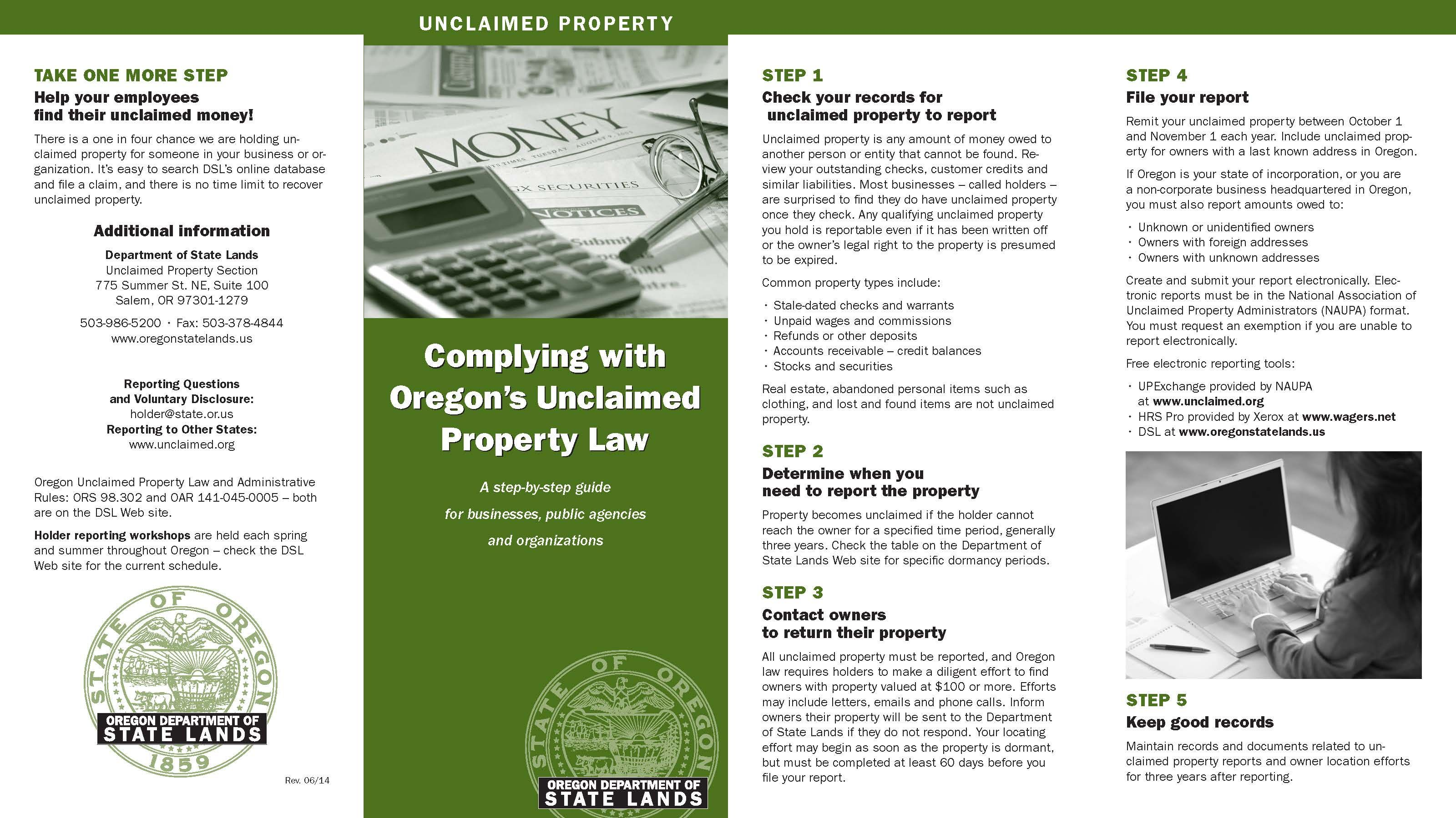 Complying With Oregon S Unclaimed Property Law By The Oregon Department Of State Lands Unclaimed Property Oregon Law