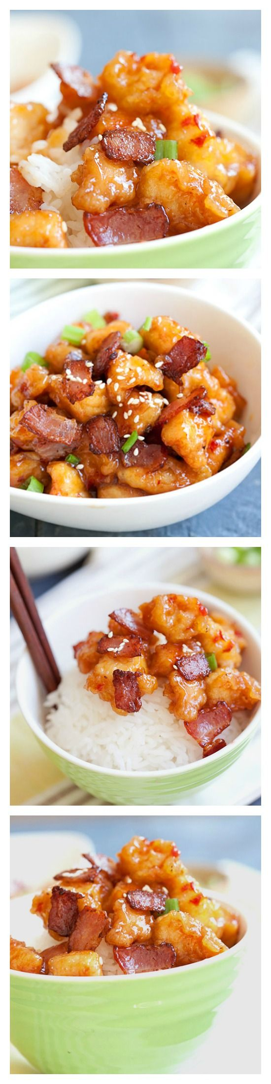Panda Express Orange Chicken with Bacon Copycat recipe. Make it at home in 20 minutes! http://rasamalaysia.com