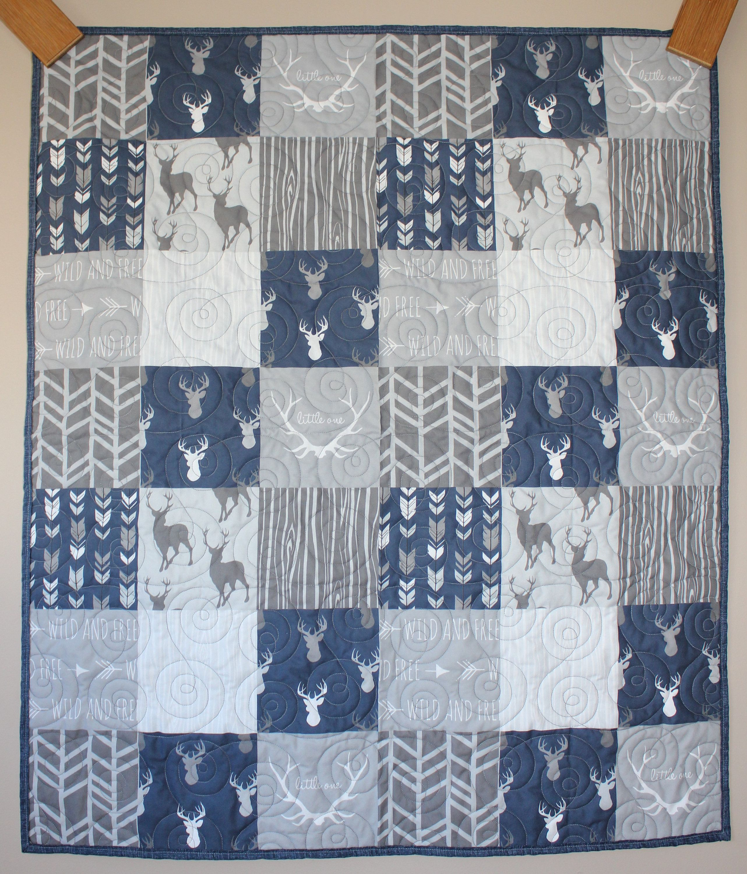 Wild And Free Blue And Gray Deer Patchwork Wholecloth Quilt Crib Lap Wall Hanging By Carsondesign On Etsy In 2020 Wall Hanging Quilts Cribs