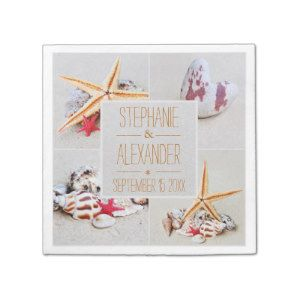 Beach Theme Starfish and Heart Paper Napkins.  Site with Beach Theme Wedding ideas and quality unique products for your special day