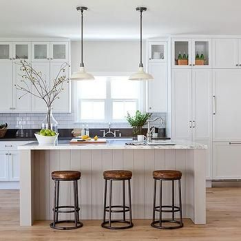 Light Gray Shiplap Kitchen Island With White Vintage Barn Pendants