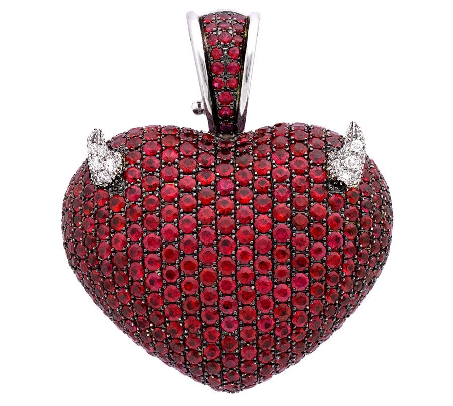Theo Fennell white gold, ruby and diamond Devil Art Pendant