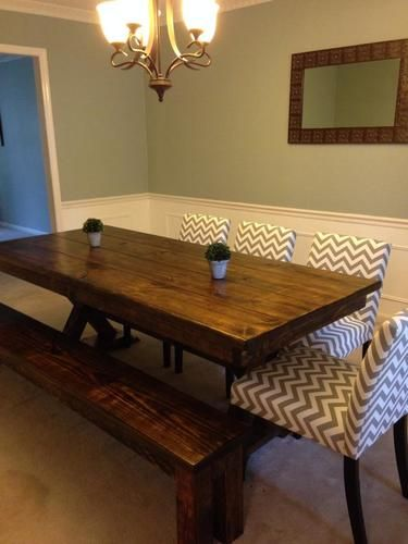 8 Foot Trestle Table, With Apron, In Dark Walnut Stain.