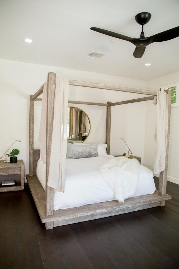 Bedroom Minimalist Master With Unfinished Wood Canopy Bedding Bed White Hard Flooring