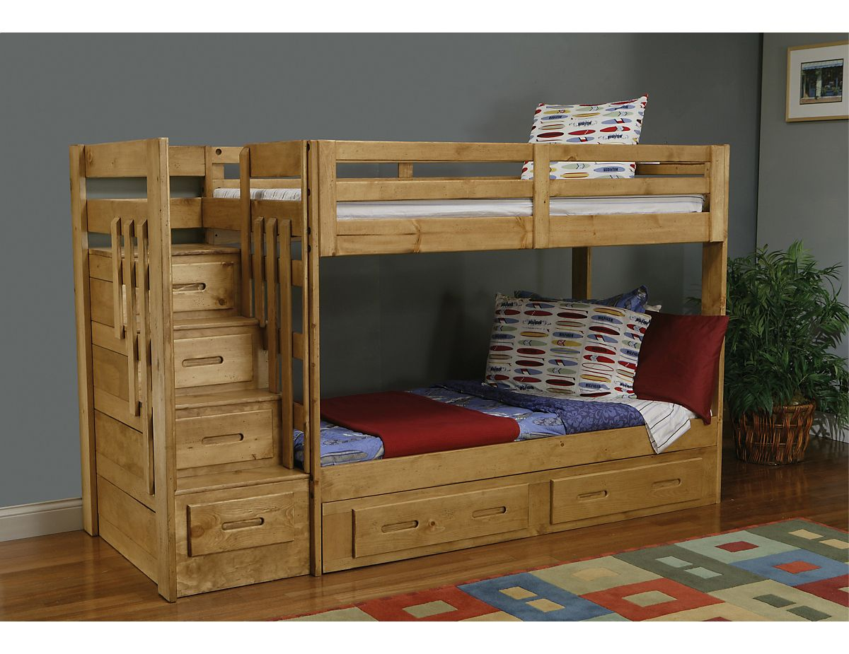 lits superpos s avec escalier ponderosa ponderosa bunk. Black Bedroom Furniture Sets. Home Design Ideas