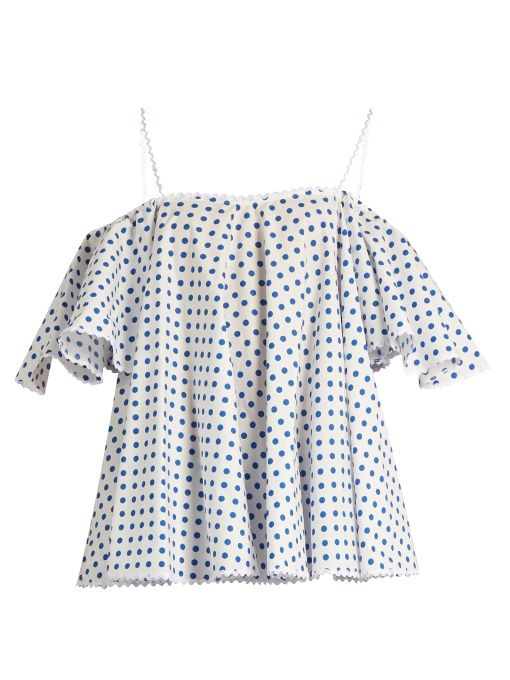 Online Sale New Arrival Cheap Online Off-the-shoulder polka-dot top ANNA OCTOBER Looking For Cheap For Cheap raHlD8s9qC