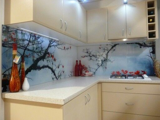 Printed Glass Splashback In 2019 Kitchen Backsplash