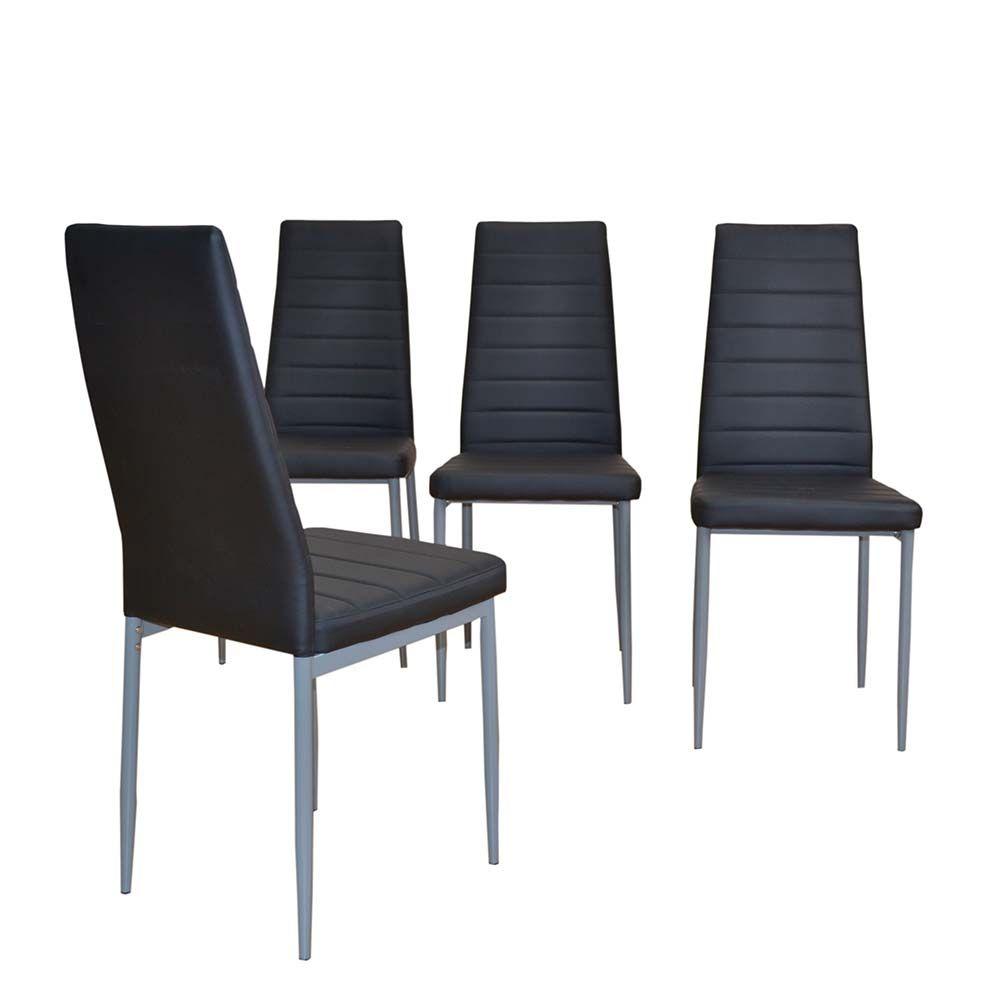 Stuhl Set in Schwarz Kunstleder günstig kaufen (4er Set) Jetzt ...