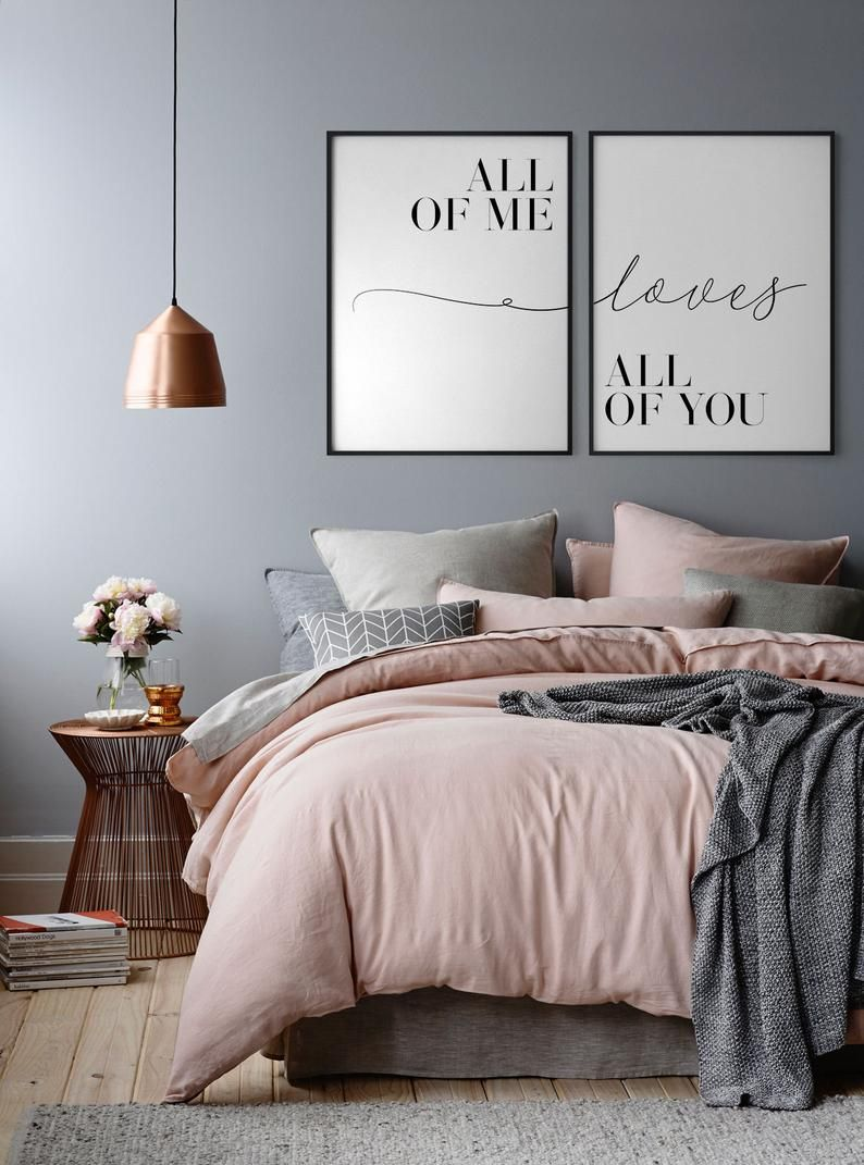 All of me Loves all of you, Set of 2, Couple print, Couple poster, Love quote, Bedroom print, Anniversary gifts, Love print, Love poster
