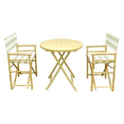 outdoor zew hand crafted 3 piece round folding bamboo patio dining rh pinterest com au