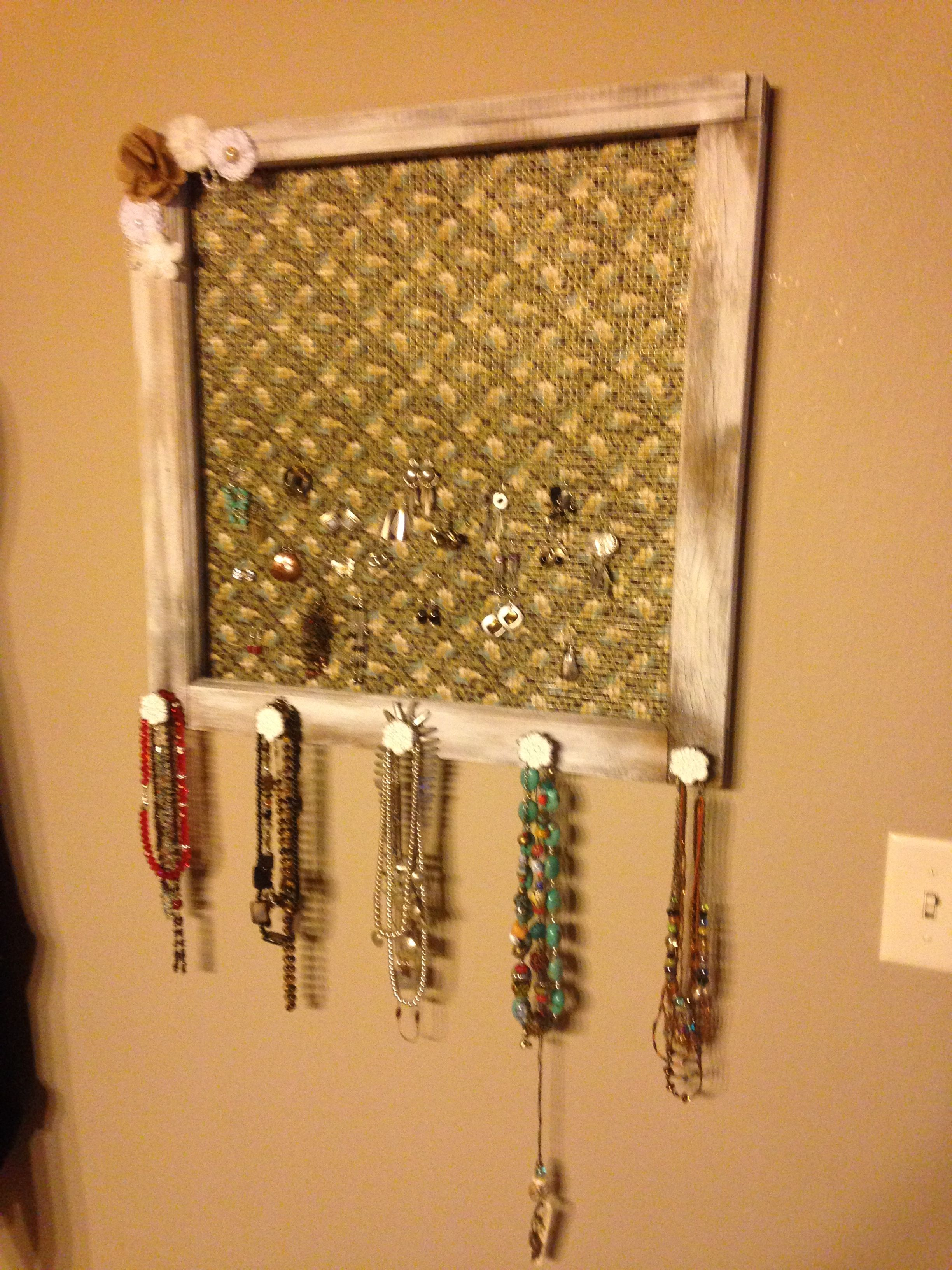 Jewelry holder from old window.