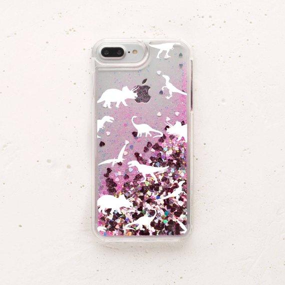 more photos 154f2 b946e Glitter Phone Case Dinosaur iPhone 6s Plus Case Liquid Glitter ...