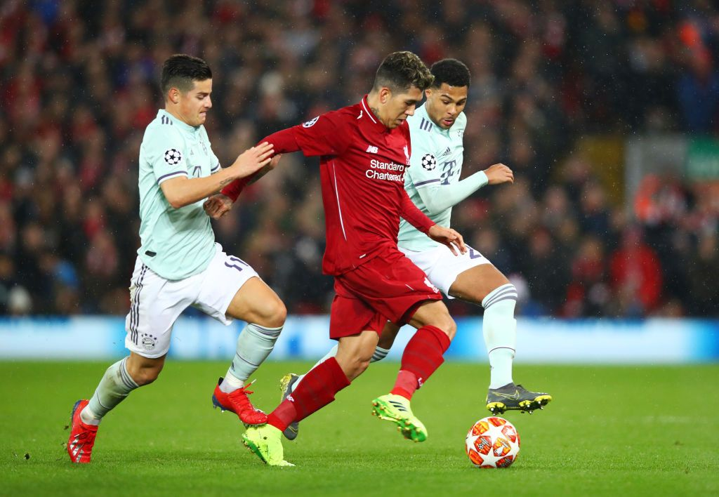 Roberto Firmino Of Liverpool Takes On James Rodriguez And