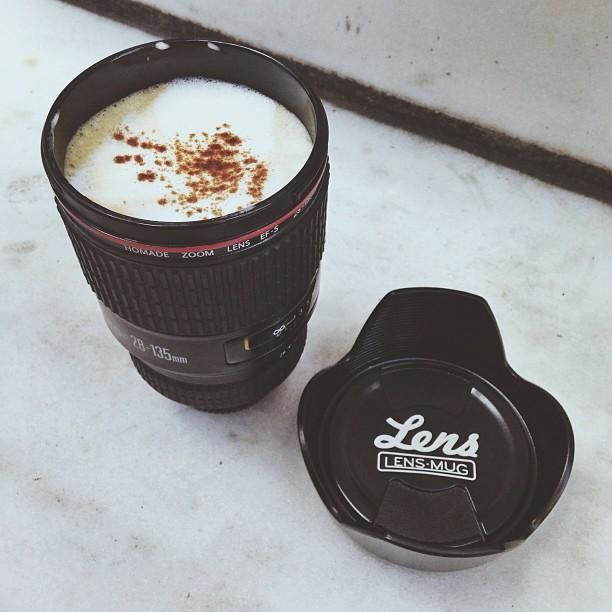 Celebrating #NationalCoffeeDay with our Camera Lens Mug... and a latte…