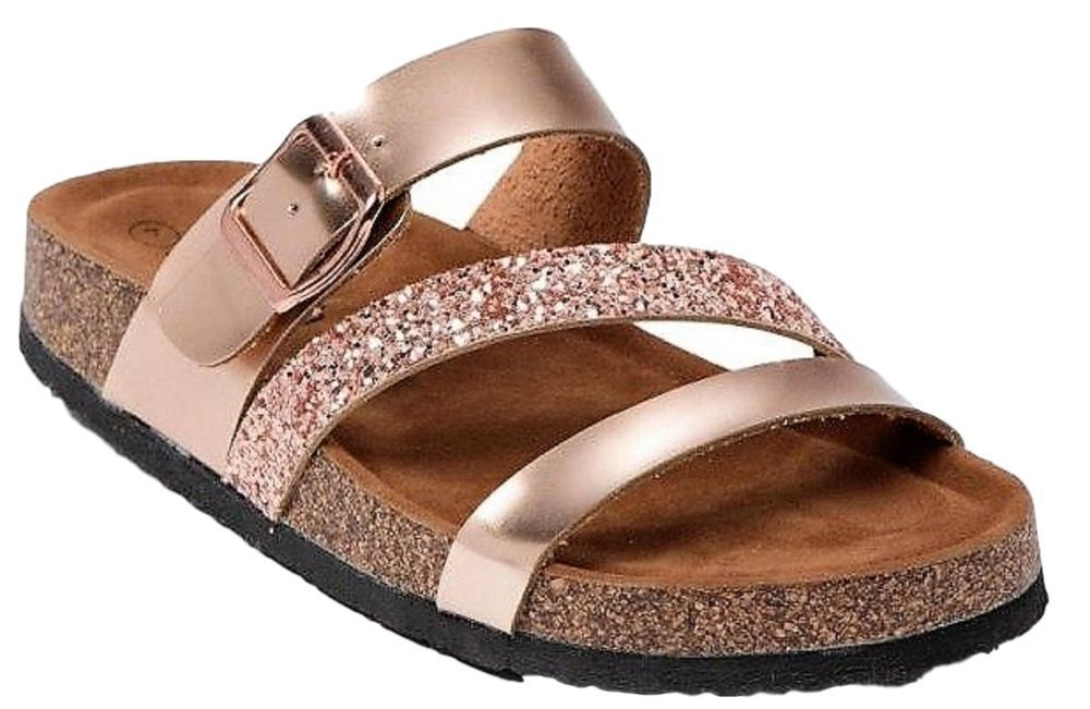 e20e13894 Leo-14 Women Strappy Gladiator Comfy Flats Glitter Open Toe Slides Rose  Gold