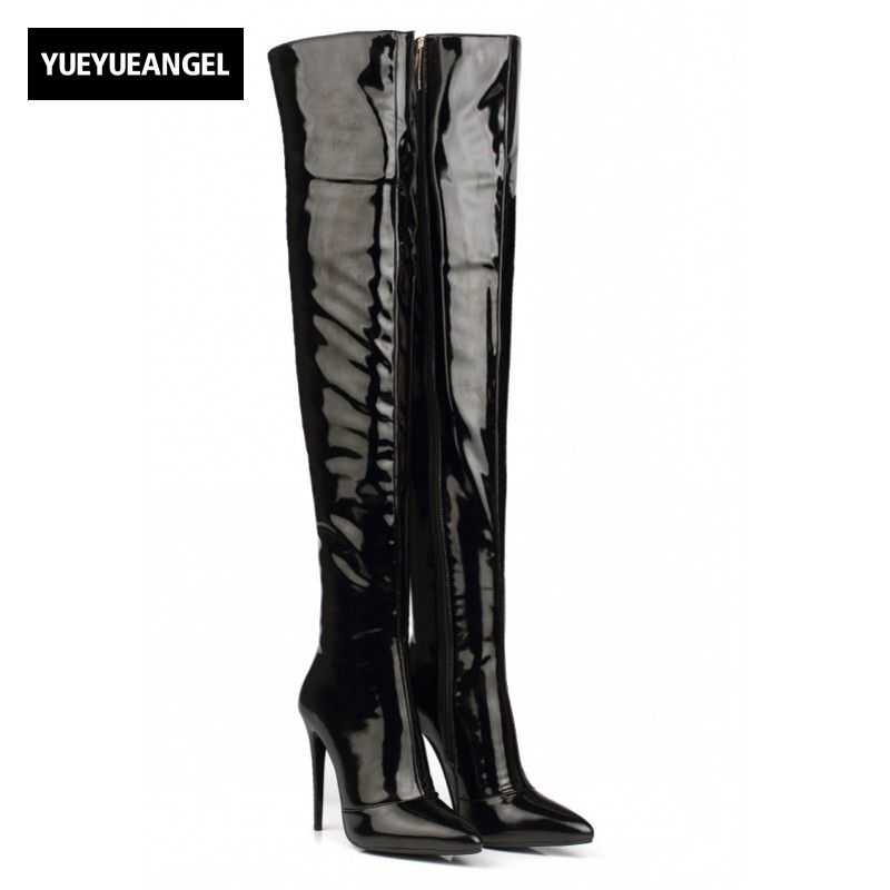51dfdeece $65 2017 Autumn Sexy Womens Shoes Over Knee Boots Patent Leather High Heels  Pointy Toe Side Zip Thigh High Pole Dancing Shoes Black-in Over-the-Knee  Boots ...