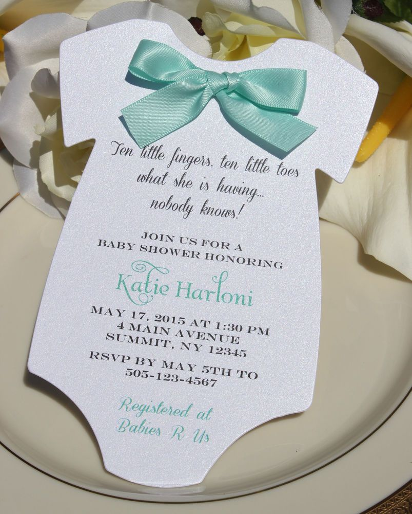 Baby Shower Invitation for Boy or Girlwith Aqua Satin Bow | Shower ...