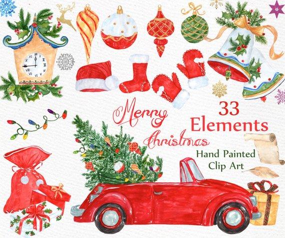 CHRISTMAS CLIP ART Holiday clipart Christmas Bells Ornaments Snowflake Christmas gifts Santa Winter clipart Watercolor Christmas clipart