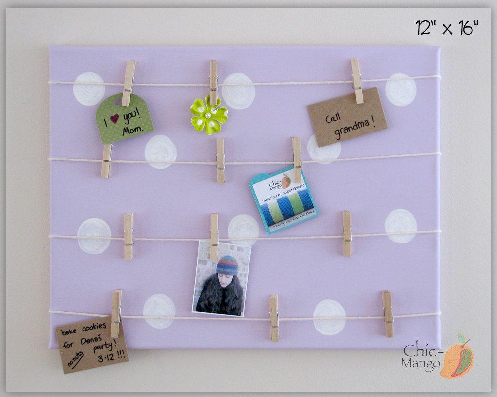 Girls Room Wall Art Memo Holder Purple Polka Dot Bulletin Board Kids Room…