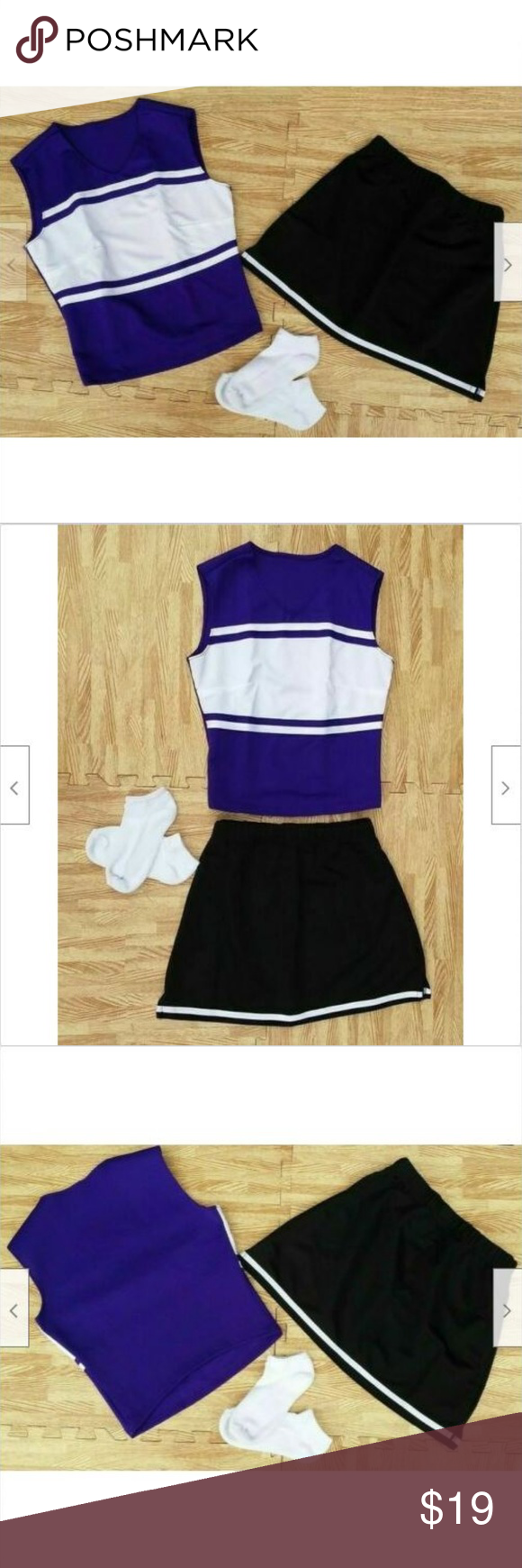 S/M REAL CHEERLEADER UNIFORM TOP SKIRT SOCKS NEW PURPLE shell top has a power stretch back for a nice contoured look. Tagged a Women M. RUNS SMALL. Measures a 36 chest. Will best fit a WOMEN'S STANDARD S/M TOP with a 33-35 bust line. BLACK skirt has 2 side slit vents . Tagged a Women M. Elastic waistband measures 26 unstretched. Will best fit a STANDARD WOMEN'S S/M BOTTOM with a 26-28 waist and up to 38 hips. Approx 15 long. 100% Polyester. NEW WITHOUT TAGS! WHITE cheerleader sports socks  #cheerleaderuniform