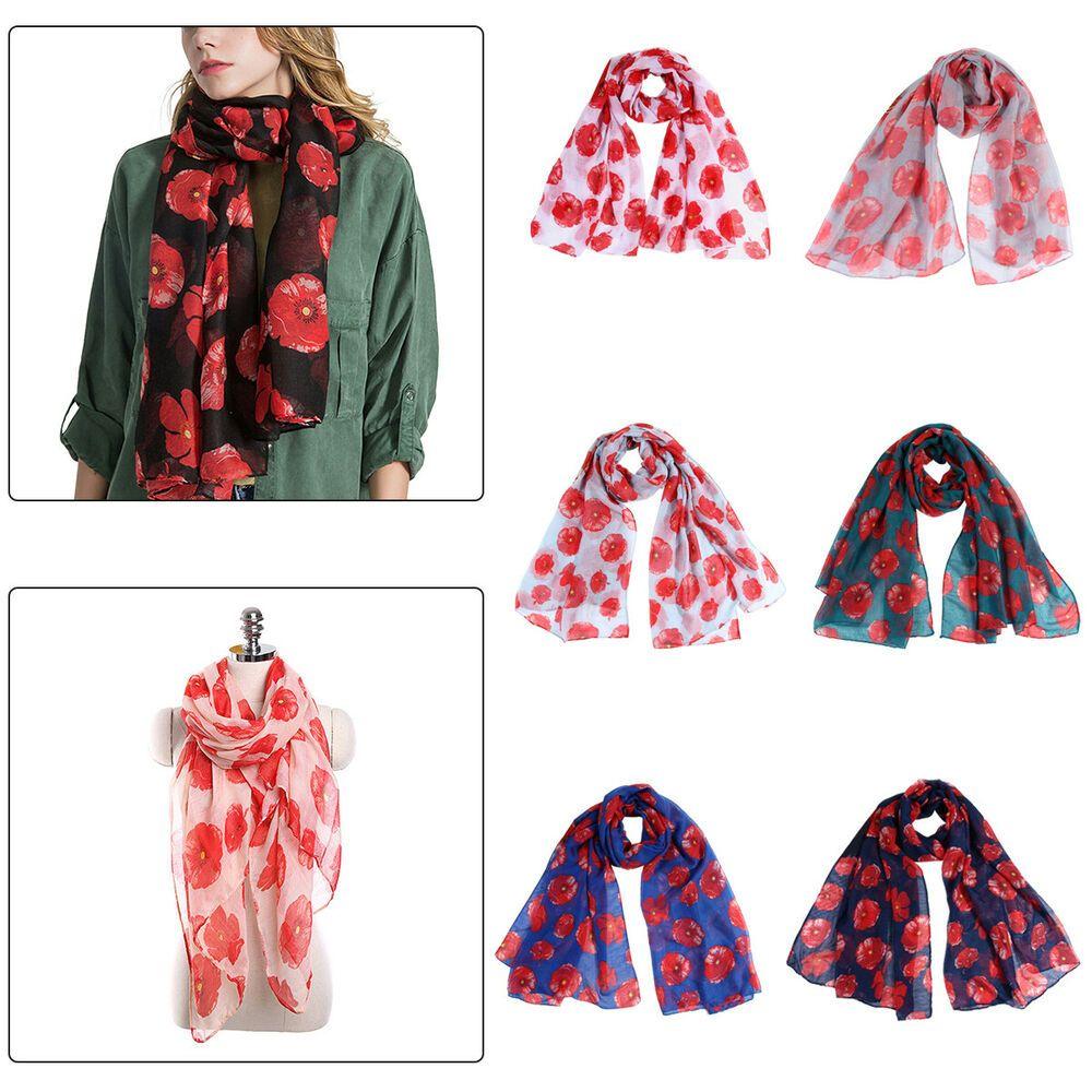 Poppy Print Floral Ladies Fashion luxurious Bali Scarf Wrap Sarong Soft Warm UK