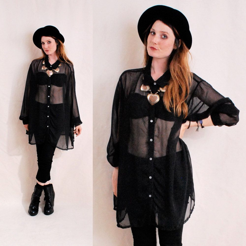 Vintage 90s Black Sheer Blouse Ultra Sheer Pan Collar Button Up