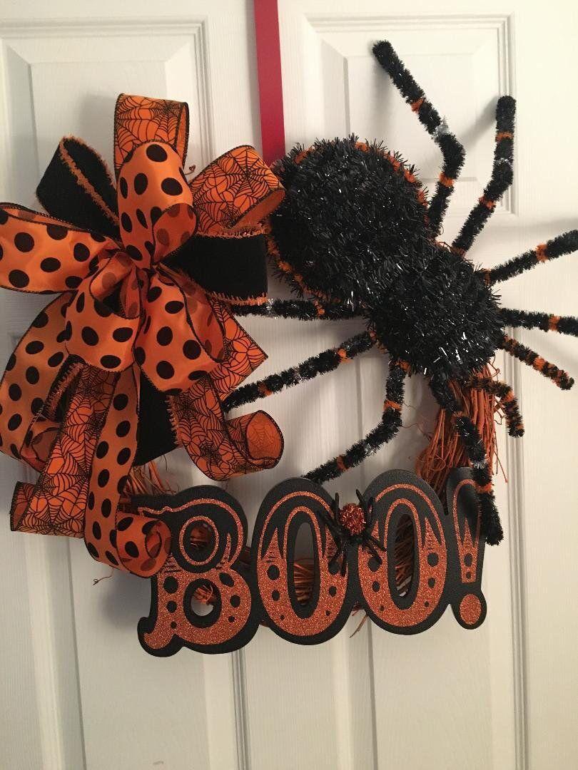 Boo Ghost Wreath Halloween Decoration Halloween Wreath for Front Door Porch Decor Black and Orange Large Deco Mesh Wreath