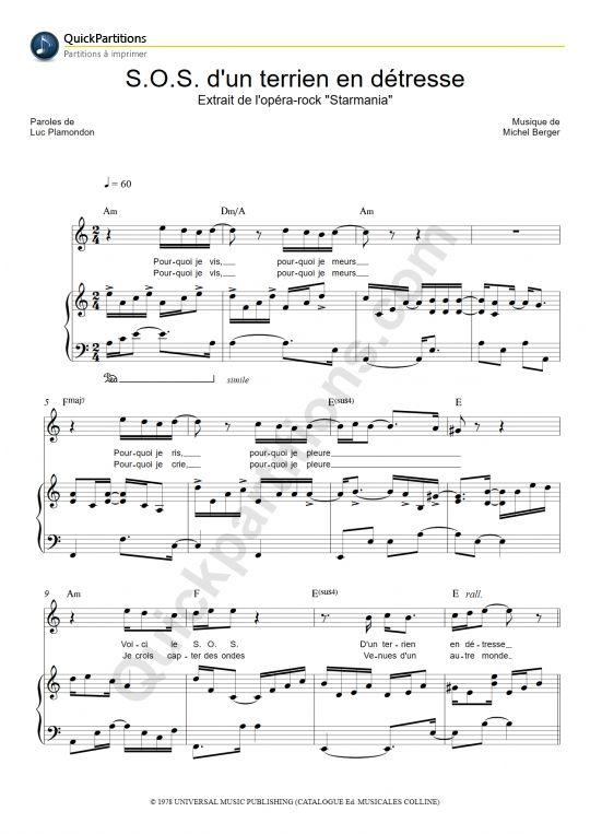 Imprimez La Partition Piano De Starmania S O S D Un Terrien En Détresse Partition Digitale à Imprimer à L Unité Et En Toute Partition Piano Piano Partition