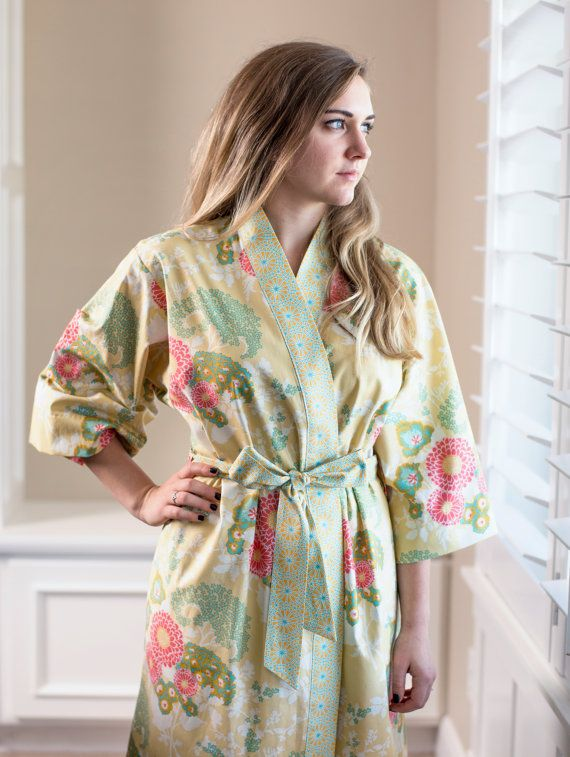 READY to SHIP. Womens Robe. Kimono Robe. Knee length Bathrobe ...
