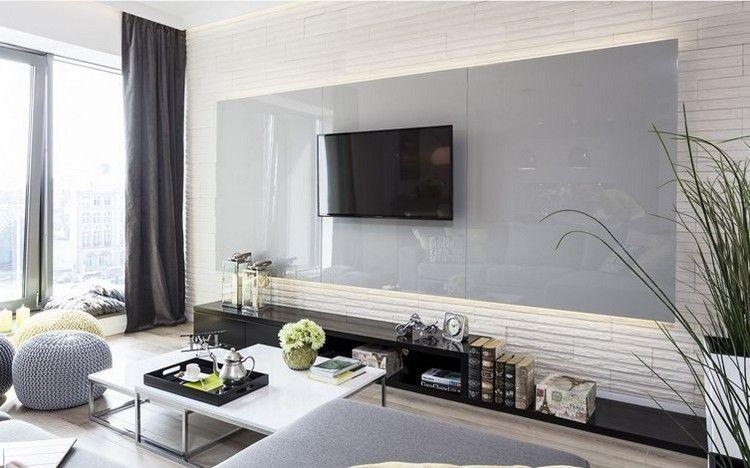 weiße Wandpaneele in Steinoptik und graue Wandpaneele | Wohnzimmer ...