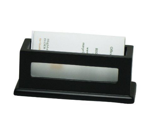 Victor Midnight Black Business Card Holder -1.8-Inch x4.3-Inch x1.6-Inch -Wood, Faux Leather -1 Each -Black