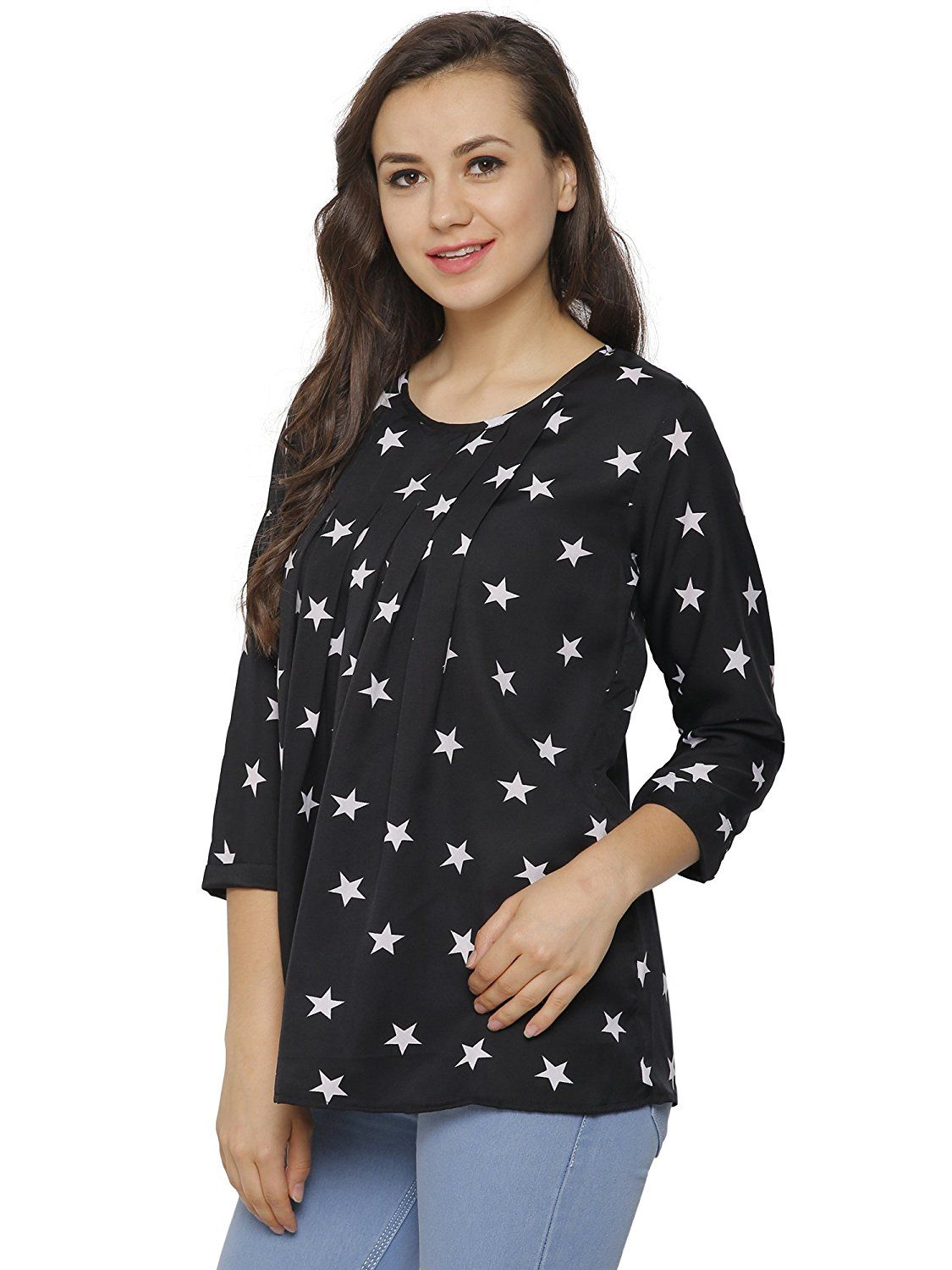 1557a82af37d36 Indietoga Plus size Girls Crepe Star print box pleat black long sleeve  casual top for women