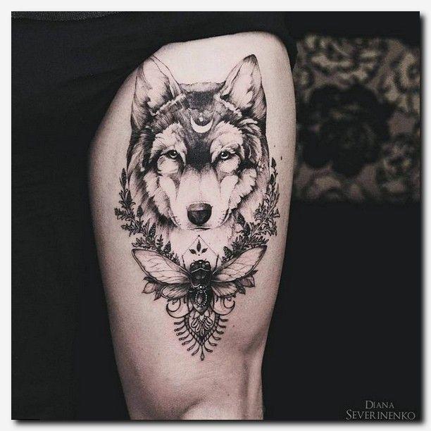 Womens Wolf Tattoo Thigh Tattoos Women Wolf Womens Thigh: #wolftattoo #tattoo Finger Tattoos, Detailed Thigh Tattoos