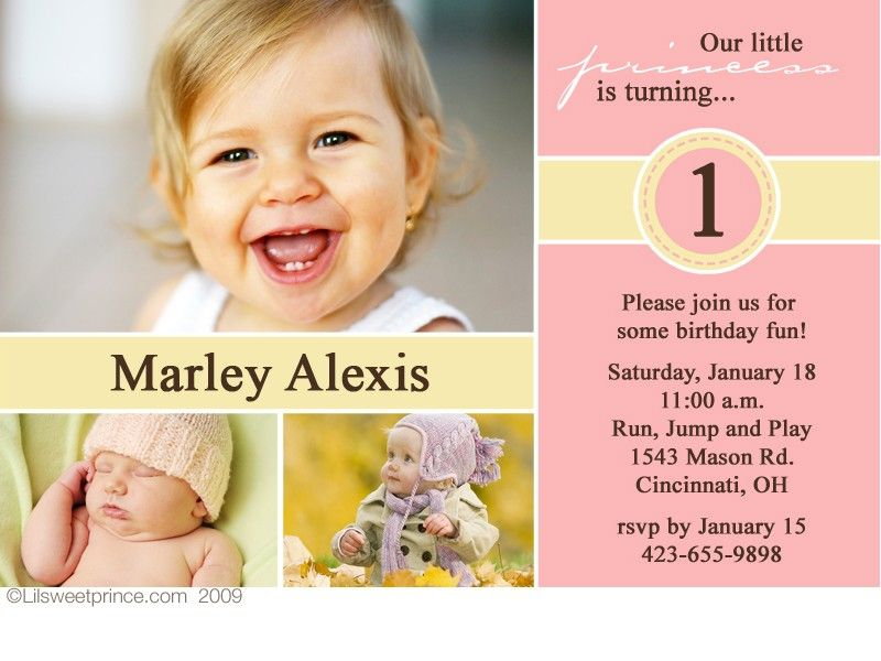 Pink and Yellow Princess Birthday Invitations – Toddler Girl Birthday Invitations