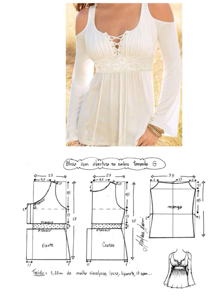 White laced-up blouse | vestido festa | Pinterest | Patrones, Molde ...