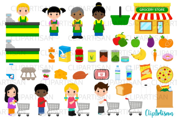 Grocery Store Clip Art Supermarket Graphic By Clipartisan Creative Fabrica Grocery Store Grocery Shop Grocery