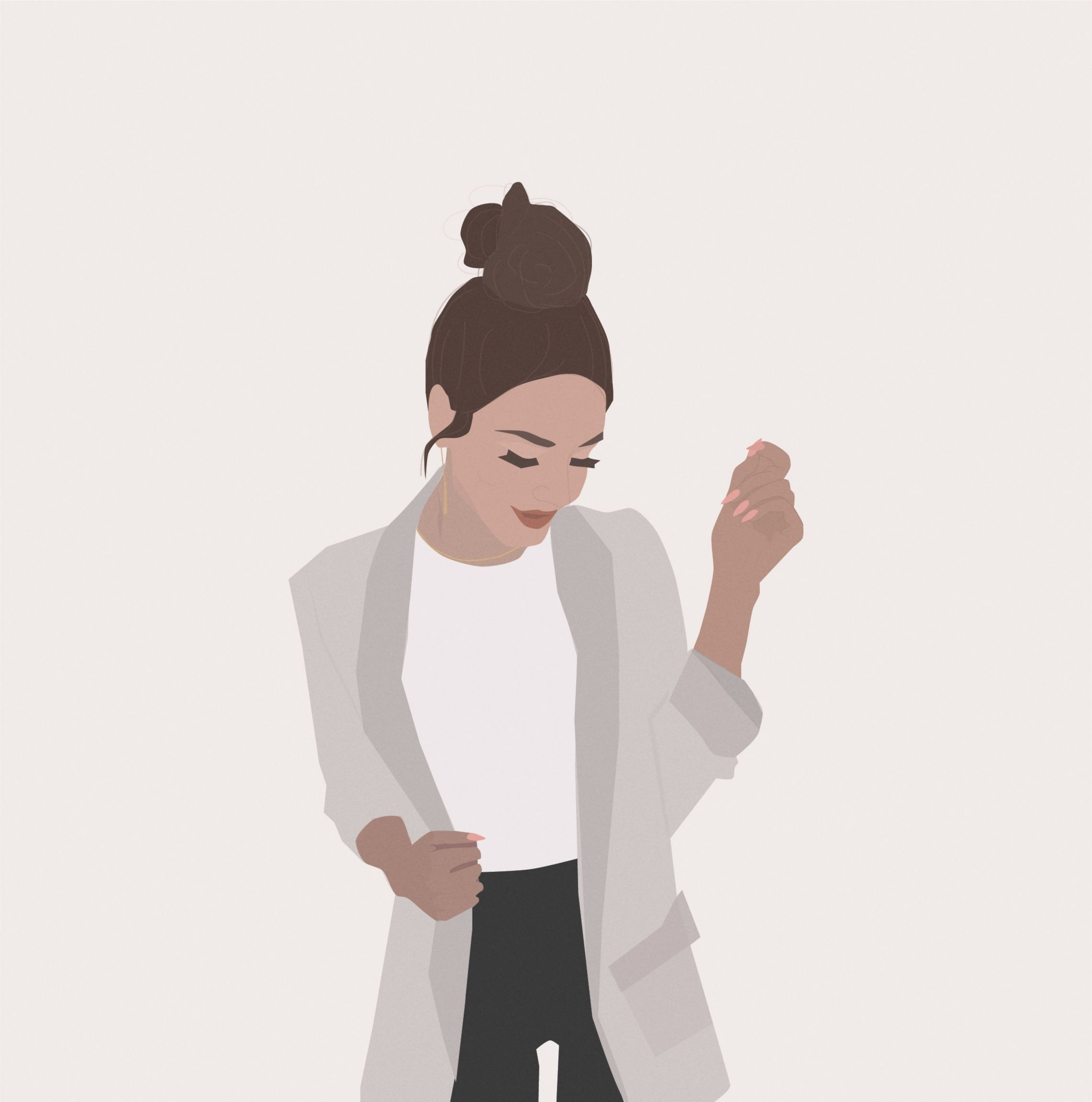 Photo of Messy Bun fashion illustration