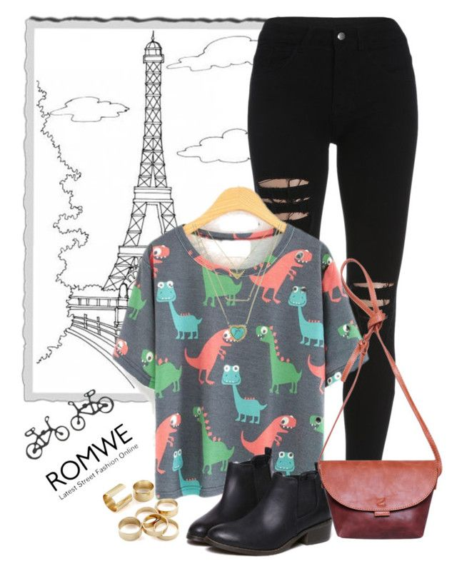"""Cartoon Dinosaur T-Shirt"" by vilmamartini ❤ liked on Polyvore"