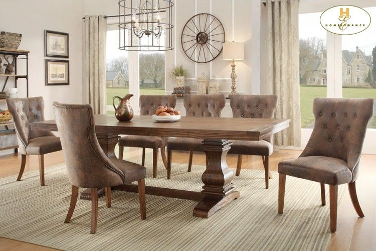 Tufted Wingback Dining Chairs with Double Pedestal Table From ...