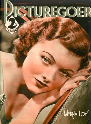 "Myrna Loy on the cover of ""Picturegoer"" magazine, United Kingdom, November 2nd 1935."