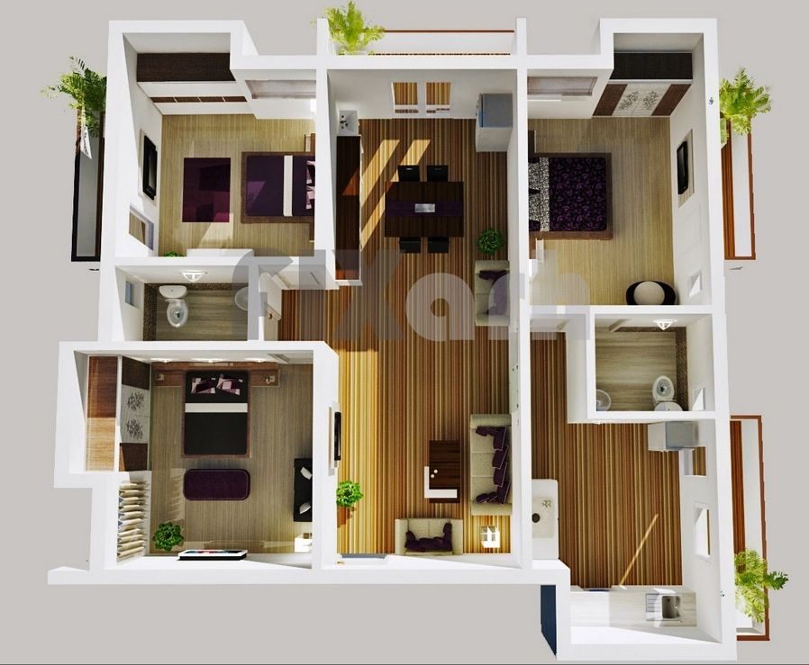 50 Three 3 Bedroom ApartmentHouse Plans House plans Bedroom
