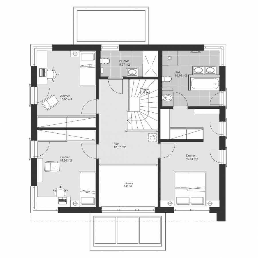 Einfamilienhaus Grundriss Obergeschoss mit Flachdach