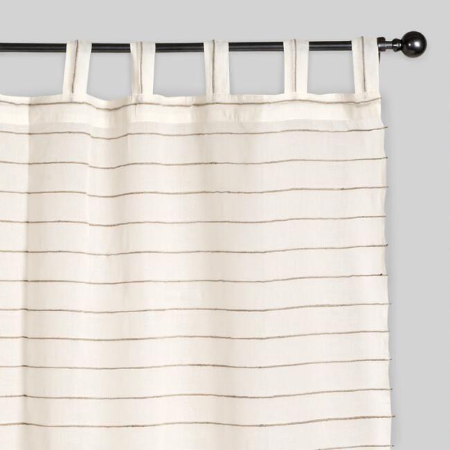 Ivory Striped Sahaj Jute Curtains, Set Of 2: White/Natural