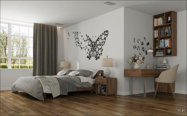Beautiful schlafzimmer holzmoebel schmetterlinge wanddeko